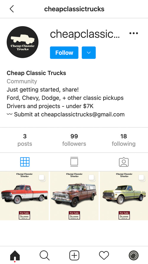 CheapClassicTrucks instagram account screenshot