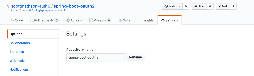 GitHub repository Settings Options panel