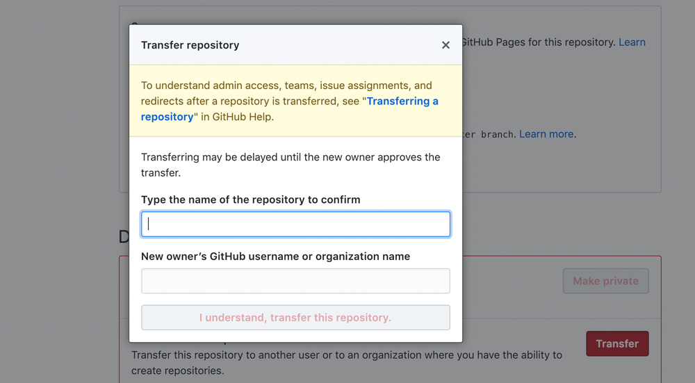 GitHub how to transfer a repository required form
