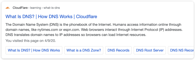 google mobile result query dns cloudflare listing site links