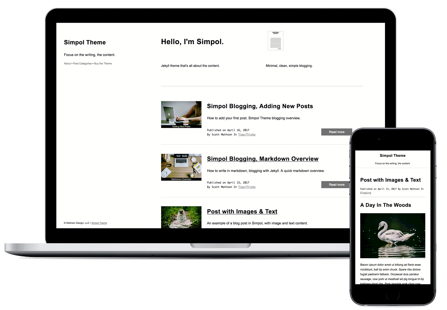 Simpol Jekyll Website Theme - Minimal theme for blogging, focus on the writing.